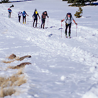 Skiers trudge up heartbreak hill near the end of the first skiing leg of the Mount Taylor Quadrathlon in Grants Saturday.