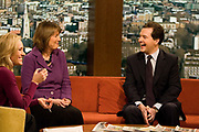 Shadow Chancellor George Osborne MP appearing on the BBCs Andrew Marr show with Harriet Harman MP, Labour Party politician on 31 January 2010 in London, United Kingdom.