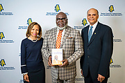 Chancellor Harold L. Martin Sr. and his wife Davida Wagner Martin with master communicator, multidimensional businessman and international thought leader T.D. Jakes at North Carolina Agricultural and Technical State University's spring Chancellor's Speaker Series on Thursday, April 11, 2019.<br /> <br /> (Chris English/Tigermoth Creative)