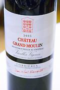 Cuvee Vieilles Vignes 2003 red. Chateau Grand Moulin. In Lezignan-Corbieres. Les Corbieres. Languedoc. France. Europe. Bottle.