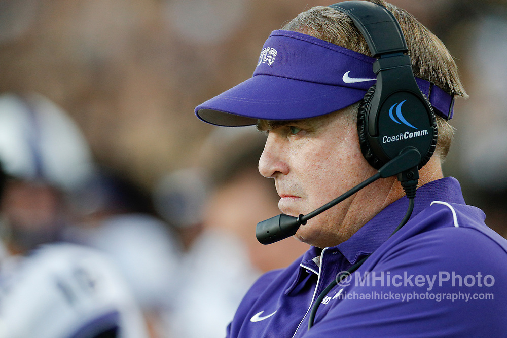 WEST LAFAYETTE, IN - SEPTEMBER 14: Head coach Gary Patterson of the TCU Horned Frogs is seen during the game against the Purdue Boilermakers at Ross-Ade Stadium on September 14, 2019 in West Lafayette, Indiana. (Photo by Michael Hickey/Getty Images) *** Local Caption *** Gary Patterson