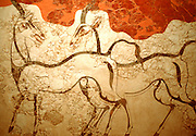 GREECE, MINOAN CULTURE Thera (Santorini): the famous wall fresco of Antelopes found in the buried Minoan city of Akrotiri