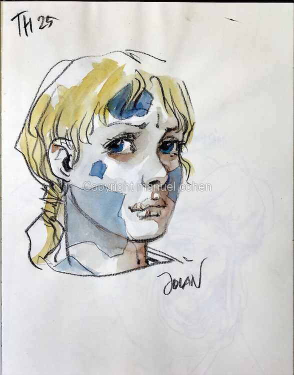 Sketch of Jolan, son of Thorgal, from Series 25 Le Mal Bleu, from a sketchbook used for developing characters, used since 2000, by Grzegorz Rosinski, 1941-, Polish comic book artist. Rosinski was born in Stalowa Wola, Poland, and now lives in Switzerland, and is the author and designer of many Polish comic book series. He created Thorgal with Belgian writer Jean Van Hamme. The series was first published in Tintin in 1977 and has been published by Le Lombard since 1980. The stories cover Norse mythology, Atlantean fantasy, science fiction, horror and adventure genres. Picture by Manuel Cohen / Further clearances requested, please contact us and/or visit www.lelombard.com