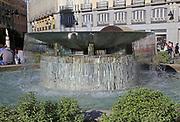 Water fountain in Plaza de la Puerta del Sol, Madrid city centre, Spain