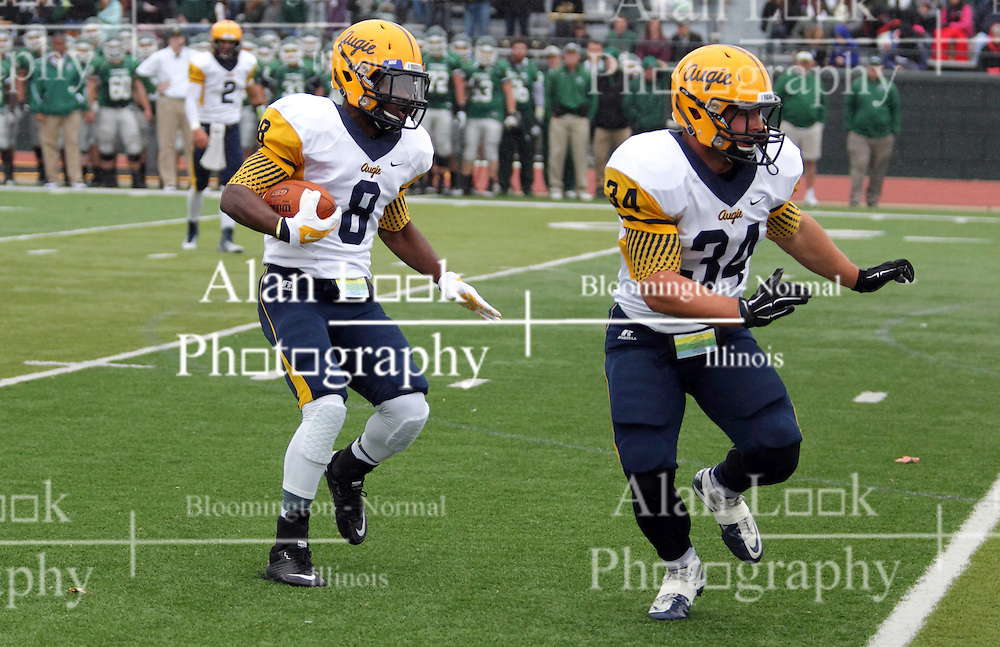 18 October 2014:  Benjamin Hodges blocks for runner Antonio Owens during an NCAA division 3 football game between the Augustana Vikings and the Illinois Wesleyan Titans in Tucci Stadium on Wilder Field, Bloomington IL