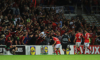 CELE - Wales' Ben Woodburn celebrates scoring the opening goal <br /> <br /> Photographer Ashley Crowden/CameraSport<br /> <br /> FIFA World Cup Qualifying - European Region - Group D - Wales v Austria - Saturday 2nd September 2017 - Cardiff City Stadium - Cardiff<br /> <br /> World Copyright © 2017 CameraSport. All rights reserved. 43 Linden Ave. Countesthorpe. Leicester. England. LE8 5PG - Tel: +44 (0) 116 277 4147 - admin@camerasport.com - www.camerasport.com