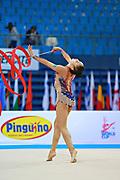 Assymova Aliya during qualifying at ribbon in Pesaro World Cup 11 April 2015.<br /> Aliya was born 16 December 1997 in Astana, Kazakhstan. She is a Kazakhstani individual rhythmic gymnast.