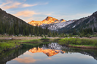 Eagle Cap reflected in ponds of Upper Lostine River, Eagle Cap Wilderness Wallowa Mountains Oregon