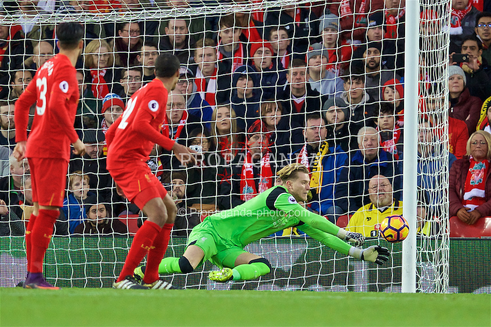 LIVERPOOL, ENGLAND - Sunday, November 6, 2016: Liverpool's goalkeeper Loris Karius in action against Watford during the FA Premier League match at Anfield. (Pic by David Rawcliffe/Propaganda)