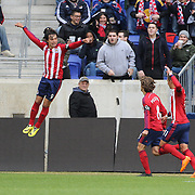 Erick Torres, (left), Chivas USA, celebrates after scoring from the penalty spot during the New York Red Bulls V Chivas USA, Major League Soccer regular season match at Red Bull Arena, Harrison, New Jersey. USA. 30th March 2014. Photo Tim Clayton