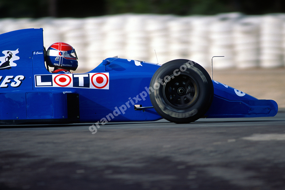 Erik Comas (Ligier-Ford) during testing at Paul Ricard in January 1991. Photo: Grand Prix Photo