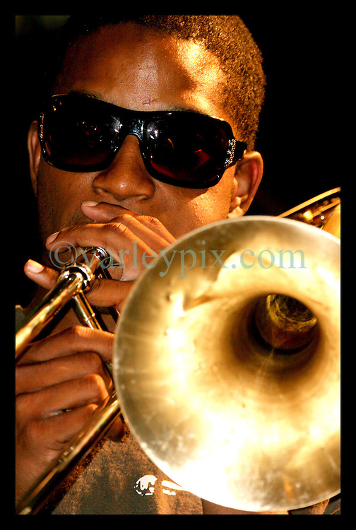April 28nd, 2006. New Orleans, Louisiana. Jazzfest . The New Orleans Jazz and Heritage festival. Local legend 'Trombone Shorty' on stage at the Bellsouth WWOZ Jazz tent with the New Orleans Jazz orchestra.