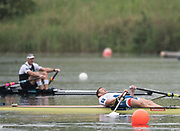 Lucerne, SWITZERLAND.<br /> <br />  CZE M1X, Ondrej  SYNEK, lays out flat in his boat after coming second in the men's final. Finals day. 2016 FISA WCII. Lake Rotsee<br /> <br /> Sunday  29/05/2016<br /> <br /> [Mandatory Credit; Peter SPURRIER/Intersport-images]