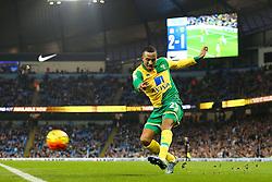 Martin Olsson of Norwich City crosses - Mandatory byline: Matt McNulty/JMP - 07966 386802 - 31/10/2015 - FOOTBALL - City of Manchester Stadium - Manchester, England - Manchester City v Norwich City - Barclays Premier League