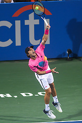 August 2, 2018 - Washington, D.C, U.S - MISCHA ZVEREV hits a serve during his 3rd round match at the Citi Open at the Rock Creek Park Tennis Center in Washington, D.C. (Credit Image: © Kyle Gustafson via ZUMA Wire)