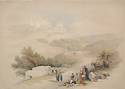Ruins of the Church of St. John Sebaste (John the Baptist), Color lithograph by David Roberts (1796-1864). An engraving reprint by Louis Haghe was published in a the book 'The Holy Land, Syria, Idumea, Arabia, Egypt and Nubia. in 1855 by D. Appleton & Co., 346 & 348 Broadway in New York.
