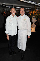Left to right, chef PATRICK O'CONNELL and chef PATRICK HENRIROUX at the Relais & Chateaux 'Diner des Grands Chefs' held at Old Billingsgate, London EC3 on 22nd April 2013.