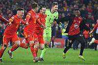 Football - 2019 / 2020 UEFA European Championships Qualifier - Group E: Wales vs. Hungary<br /> <br /> Gareth Bale of Wales & Aaron Ramsey of Wales celebrate Wales' victory & qualification for Euro 2020, at Cardiff City Stadium.<br /> <br /> COLORSPORT/WINSTON BYNORTH1