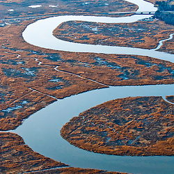 Aerial view of lower  Delaware water rmarsh areas in sussex county