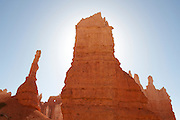 Backlit rock formation on the Queen's Garden Trail in Bryce Canyon National Park, Utah.