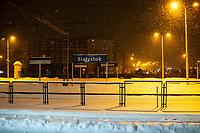 Bialystok, 16.01.2021. Gwaltowny atak zimy, w ciagu paru godzin przybylo kilkanascie centymetrow sniegu N/z zasniezone perony na dworcu PKP Bialystok fot Michal Kosc / AGENCJA WSCHOD