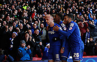 Birmingham City's David Cotterill (L) celebrates scoring his sides first goal <br /> <br /> Photographer Jack Phillips/CameraSport<br /> <br /> Football - The Football League Sky Bet Championship - Nottingham Forest v Birmingham City - Saturday 28th December - The City Ground - Nottingham<br /> <br /> © CameraSport - 43 Linden Ave. Countesthorpe. Leicester. England. LE8 5PG - Tel: +44 (0) 116 277 4147 - admin@camerasport.com - www.camerasport.com