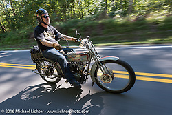 Thomas Trapp of Harley-Factory Frankfurt Germany on his 1914 Harley-Davidson during the Motorcycle Cannonball Race of the Century. Stage-3 from Morgantown, WV to Chillicothe, OH. USA. Monday September 12, 2016. Photography ©2016 Michael Lichter.