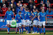 Portsmouth forward Oliver Hawkins (9) scores a goal and celebrates to make the score 0-1 during the EFL Sky Bet League 1 match between Accrington Stanley and Portsmouth at the Fraser Eagle Stadium, Accrington, England on 27 October 2018.