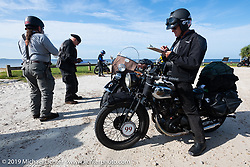 Todd Cameron on his BSA stopped at a roadside checkpoint while filling in the daily pop quiz on the Cross Country Chase motorcycle endurance run from Sault Sainte Marie, MI to Key West, FL. (for vintage bikes from 1930-1948). 287 mile ride of Stage-8 from Tallahassee to Lakeland, FL USA. Friday, September 13, 2019. Photography ©2019 Michael Lichter.