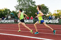 Adrian Martinez Classic track meet, Men's High Performance 5000m, Esparza, Mexico leads Jim Spisak, Saucony,