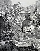 Fashionable London concert audience in the mid-19th century.
