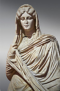 Roman statue of young Faustina. Marble. Perge. 2nd century AD. Inv no 3045 . Antalya Archaeology Museum; Turkey. .<br /> <br /> If you prefer to buy from our ALAMY STOCK LIBRARY page at https://www.alamy.com/portfolio/paul-williams-funkystock/greco-roman-sculptures.html . Type -    Antalya     - into LOWER SEARCH WITHIN GALLERY box - Refine search by adding a subject, place, background colour, museum etc.<br /> <br /> Visit our ROMAN WORLD PHOTO COLLECTIONS for more photos to download or buy as wall art prints https://funkystock.photoshelter.com/gallery-collection/The-Romans-Art-Artefacts-Antiquities-Historic-Sites-Pictures-Images/C0000r2uLJJo9_s0