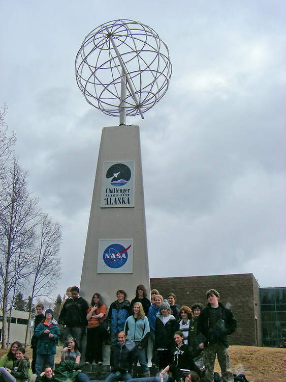 Alaska, Challenger learning center, Teenagers on a school field trip pose for a group photo