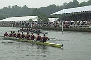 Henley, Great Britain, 2001 Henley Royal Regatta. <br /> <br /> Tel 44 (0) 7973 819 551<br /> <br /> Photo Peter Spurrier<br /> Henley Royal Regatta Sat 6th July<br /> <br /> Last Session 5.00 to 6.15   PM.<br /> <br /> Temple Seni-final<br /> Harvard<br /> <br /> Temple Seni-final<br /> <br /> Yale v Harvard Harvard going on to win. 20010604 Henley Royal Regatta, Henley, Great Britain.