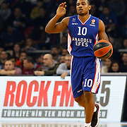 Anadolu Efes's Dontaye Draper during their Turkish Airlines Euroleague Basketball Top 16 Round 7 match Anadolu Efes between Fenerbahce Ulker at Abdi ipekci arena in Istanbul, Turkey, Friday 13 February, 2015. Photo by Aykut AKICI/TURKPIX