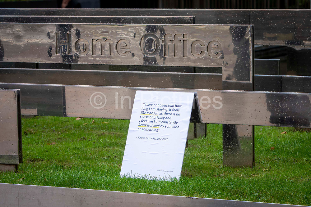 Campaigners leave placards for a Close Napier Barracks demonstration outside the Home Office headquarters on Marsham street on the 28th September 2021 in London, United Kingdom. Napier Barracks has been used by the Home Office to house Asylum seekers for a year now. Close the Camps organised a solidarity demo for the people in Napier Barracks, there have been numerous calls for the camp to close as the facilities have been deemed unsafe for habitation and unfit for purpose.