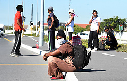 South Africa - Cape Town - Homeless people who were given shelter in Strandfontein by the City of Cape Town during the Covid-19 lockdown, have decided to leave and some jumped the fence.They are complaining about the living conditions and being treated like prisoners by the Law Enforcement officials there.photograph :Phando Jikelo/African News Agency(ANA)