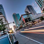 Traffic motion blur and light trail at 13th & Main Street, downtown Kansas City, Missouri.