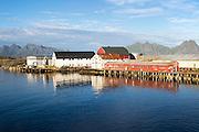 Fish processing buildings at Svolvaer, Lofoten Islands, Nordland, Norway