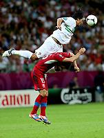 Fotball , 21. juni 2012 , Euro , kvartfinale , Tsjekkia - Portugal<br /> <br /> Bruno Alves (POR) und Milan Baros (CZE). <br /> Norway only