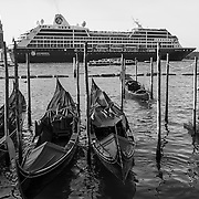 Big ships  in Venice - Black and White<br /> <br /> HOW TO LICENCE THIS PICTURE: please contact us via e-mail at sales@xianpix.com or call our office in London +44 (0)207 1939846 for prices and terms of copyright. First Use Only ,Editorial Use Only, All repros payable, No Archiving.© MARCO SECCHI