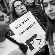 Tens of thousands gathered in downtown Los Angeles to participate in the March For Our Lives protest march. Marches were held in over 800 cities worldwide to protest school shootings and advocate for gun control. The protest was organized after 17 kids were killed in a mass shooting at Stoneman Douglas High School in Parkland, Florida.