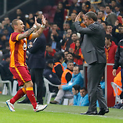 Galatasaray's Wesley Sneijder celebrate his goal during their Turkish Super League soccer match Galatasaray between Caykur Rizespor at the AliSamiYen Spor Kompleksi TT Arena at Seyrantepe in Istanbul Turkey on Sunday, 25 January 2015. Photo by Aykut AKICI/TURKPIX