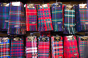 Traditional Scottish clan tartan scarves display for sale in James Pringle Weavers Shop in St Vincent Street in Glasgow, Scotland, UK