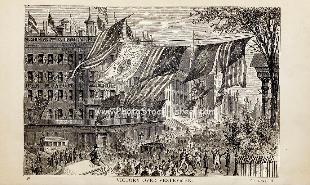 VICTORY OVER VESTRYMEN, From the autobiographical Book ' Struggles and triumphs; or, Forty years' recollections of P.T. Barnum ' By Barnum, P. T. (Phineas Taylor), 1810-1891 Published by <br /> The Courier Company Buffalo, N.Y. in 1879. Phineas Taylor Barnum (July 5, 1810 – April 7, 1891) was an American showman, politician, and businessman, remembered for promoting celebrated hoaxes and for founding the Barnum & Bailey Circus (1871–2017). He was also an author, publisher, and philanthropist,