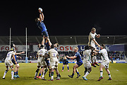 Lood De Jager catches a line out during a Gallagher Premiership Rugby Union match won by Sharks 39-0, Friday, Mar. 6, 2020, in Eccles, United Kingdom. (Steve Flynn/Image of Sport)