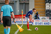 Scotland No2 Cameron Logan (Heat of Midlothian) protests to the referee that he had won the ball during the U17 European Championships match between Scotland and Russia at Simple Digital Arena, Paisley, Scotland on 23 March 2019.