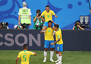Neymar of Brazil celebrates after his goal with Paulinho and Philippe Coutinho during the 2018 FIFA World Cup Russia, round of 16 football match between Brazil and Mexico on July 2, 2018 at Samara Arena in Samara, Russia - Photo Tarso Sarraf / FramePhoto / ProSportsImages / DPPI