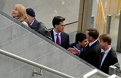 © Licensed to London News Pictures. 16/04/2012. London, UK. ED MILIBAND (C ) talks with SIR ROBIN WALES on an escalator. Ed Miliband MP, Leader of the Labour Party UK, visits The Skills Place in Westfield Stratford today, 16th April 2012, on a visit to highlight youth unemployment issues. Photo credit : Stephen Simpson/LNP