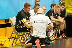 Dimitrij Kuttel of Kadetten Schaffhausen injury during handball match between RK Gorenje Velenje and Kadetten Schaffhausen in VELUX EHF Champions League, on November 25, 2017 in Rdeca Dvorana, Velenje, Slovenia. Photo by Ziga Zupan / Sportida